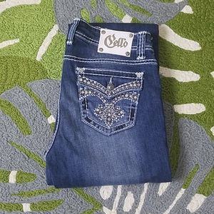 Cello Embellished boot cut jeans new 13 long